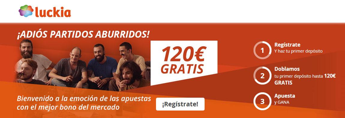 Registrate con Luckia y recibe el bono de bienvenida de hasta 120€
