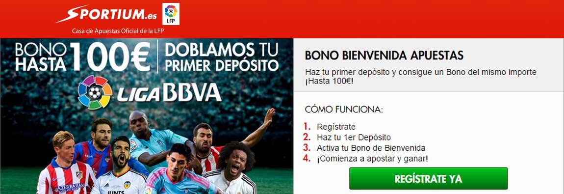 Registrate con Sportium y recibe el bono de bienvenida de hasta 100€